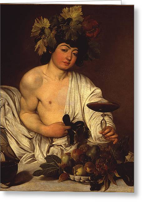 Italian Wine Greeting Cards - The Adolescent Bacchus Greeting Card by Caravaggio