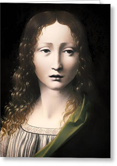Religious Artwork Paintings Greeting Cards - The Adolescent Savior Greeting Card by Antonio Boltraffio