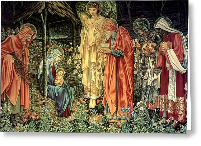 Child Tapestries - Textiles Greeting Cards - The Adoration of the Kings Greeting Card by Bradley Skeen