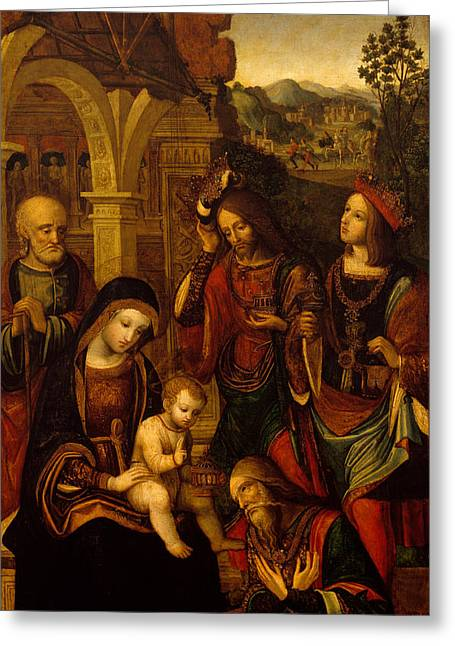 Three Children Paintings Greeting Cards - The Adoration of the Kings Greeting Card by Neapolitan School