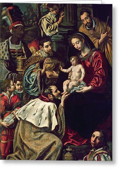 Child Jesus Greeting Cards - The Adoration Of The Magi, 1620 Oil On Canvas Greeting Card by Luis Tristan de Escamilla