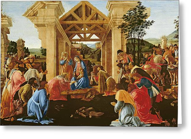 Perspective Greeting Cards - The Adoration Of The Magi, C.1478-82 Tempera & Oil On Panel Greeting Card by Sandro Botticelli