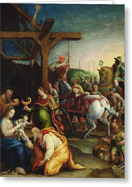 Christ Child Greeting Cards - The Adoration of the Magi Greeting Card by Lavinia Fontana