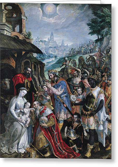 Opulence Greeting Cards - The Adoration Of The Magi Oil On Canvas Greeting Card by Maarten de Vos
