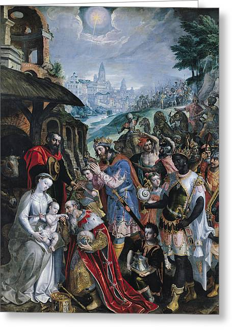 The Adoration Of The Magi  Greeting Card by Maarten de Vos
