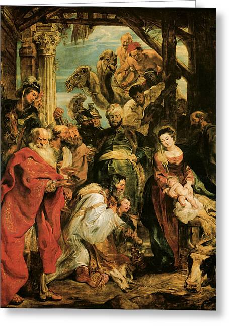 Baby Jesus Greeting Cards - The Adoration of the Magi Greeting Card by Peter Paul Rubens