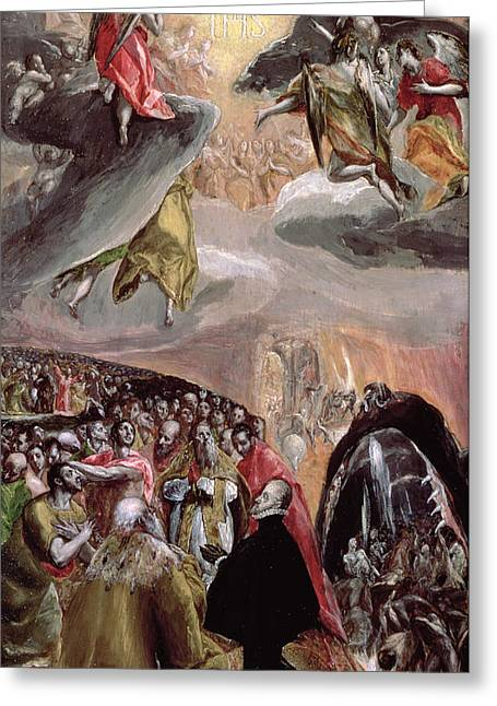Doge Greeting Cards - The Adoration Of The Name Of Jesus, C.1578 Oil & Tempera On Wood Greeting Card by El Greco