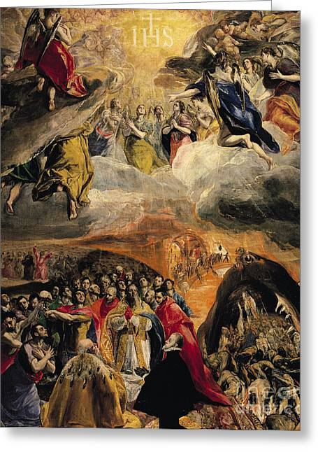 Doge Greeting Cards - The Adoration of the Name of Jesus Greeting Card by El Greco Domenico Theotocopuli