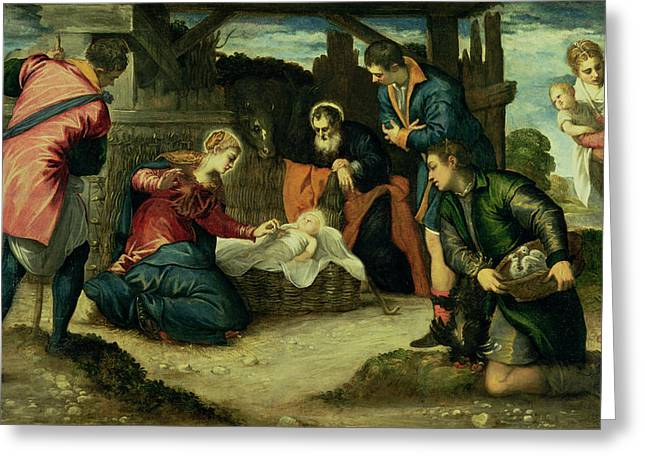 Shepherds Greeting Cards - The Adoration Of The Shepherds, 1540s Greeting Card by Jacopo Robusti Tintoretto