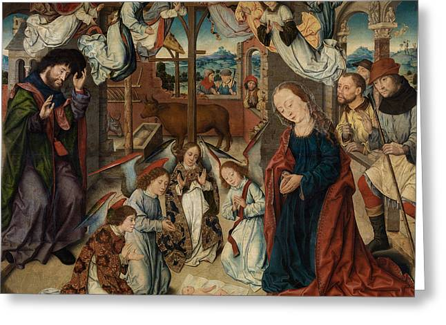 The Adoration Of The Shepherds Greeting Card by Albrecht Bouts