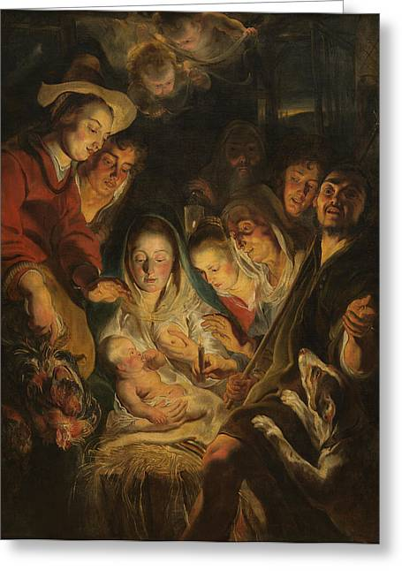 Adoration Of The Shepherds; Shepherd; Infant Jesus Christ; Baby; Child; Joseph; Virgin Mary; Madonna; Holy Family; Stable; Manger; Ox; Oxen; Straw Greeting Cards - The Adoration of the Shepherds Greeting Card by Anonymous