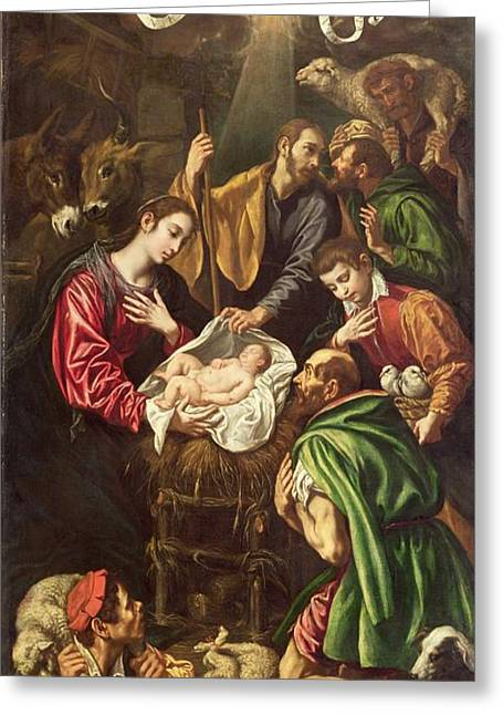 Shepherds Greeting Cards - The Adoration Of The Shepherds, C.1620 Greeting Card by Luis Tristan de Escamilla