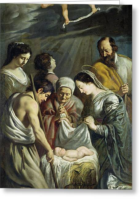 The Adoration Of The Shepherds Greeting Card by Antoine and Louis Le Nain