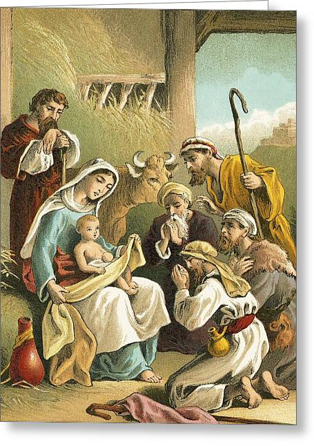 Shepherds Greeting Cards - The Adoration of the Shepherds Greeting Card by English School