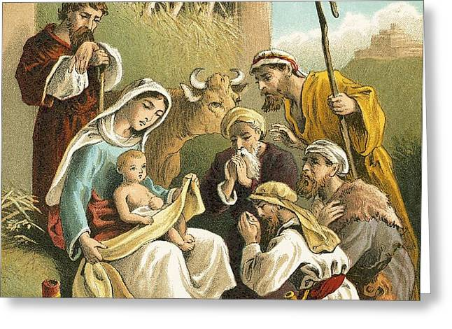 The Adoration of the Shepherds Greeting Card by English School