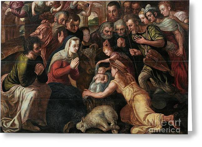 The Followers Paintings Greeting Cards - The Adoration of the Shepherds Greeting Card by Celestial Images