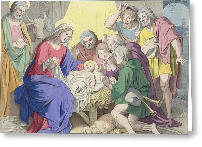 Worship God Paintings Greeting Cards - The Adoration of the Shepherds Greeting Card by German School