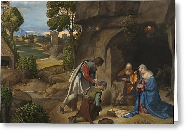 Adore Greeting Cards - The Adoration of the Shepherds Greeting Card by Giorgio da Castelfranco Giorgione