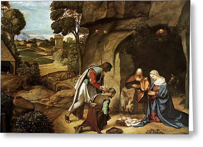 Shed Paintings Greeting Cards - The Adoration of the Shepherds Greeting Card by L Brown