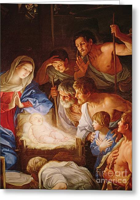 Adoration Of The Shepherds; Shepherd; Infant Jesus Christ; Baby; Child; Joseph; Virgin Mary; Madonna; Holy Family; Stable; Manger; Ox; Oxen; Straw Greeting Cards - The Adoration of the Shepherds Greeting Card by Guido Reni