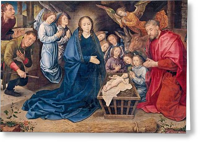 Dutch Shepherd Greeting Cards - The Adoration of the Shepherds Greeting Card by Hugo van der Goes