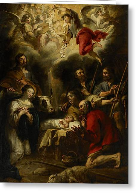 Child Jesus Greeting Cards - The Adoration of the Shepherds Greeting Card by Jan Cossiers