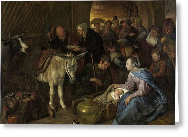 Dutch Shepherd Greeting Cards - The Adoration of the Shepherds Greeting Card by Jan Steen