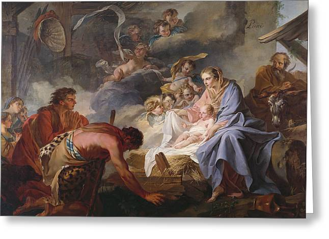Adoration Of The Shepherds; Shepherd; Infant Jesus Christ; Baby; Child; Joseph; Virgin Mary; Madonna; Holy Family; Stable; Manger; Ox; Oxen; Straw Greeting Cards - The Adoration of the Shepherds Greeting Card by Jean Baptiste Marie Pierre