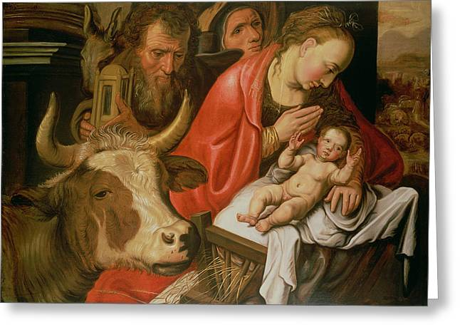 Shepherds Greeting Cards - The Adoration Of The Shepherds Greeting Card by Pieter Aertsen