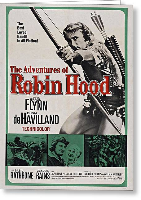 1938 Movies Greeting Cards - The Adventures of Robin Hood B Greeting Card by Movie Poster Prints