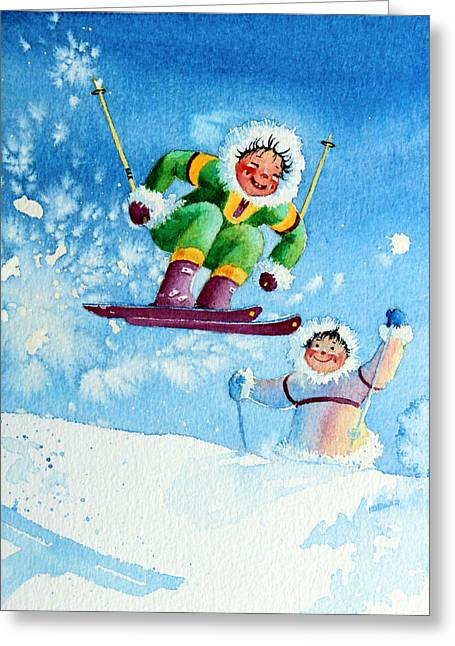 Ski Art Greeting Cards - The Aerial Skier - 10 Greeting Card by Hanne Lore Koehler