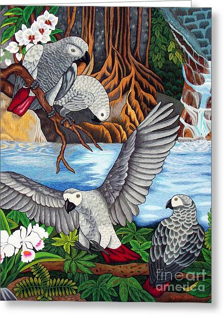 Grey Tapestries - Textiles Greeting Cards - The African Grey Parrots hand embroidery Greeting Card by To-Tam Gerwe