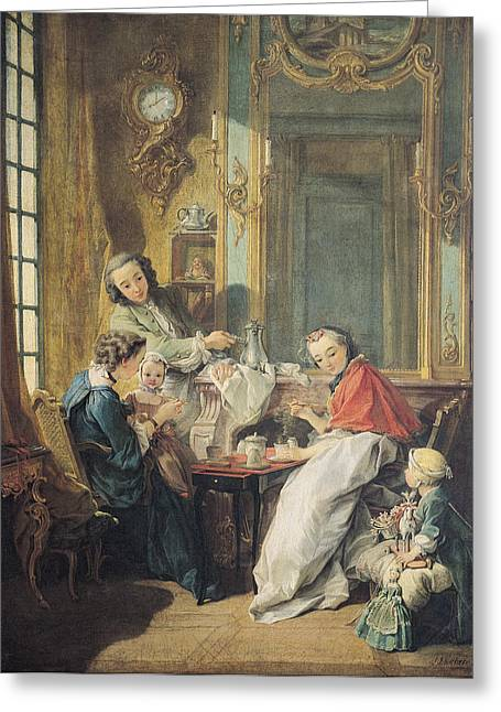 Feeding Greeting Cards - The Afternoon Meal, 1739 Oil On Canvas Greeting Card by Francois Boucher