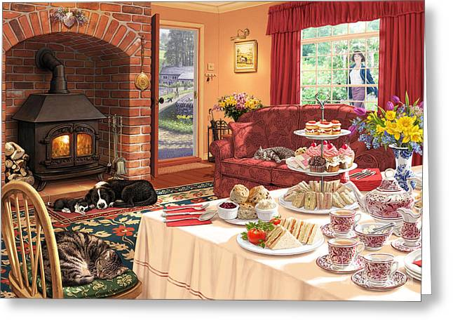Cakes Greeting Cards - The Afternoon Visitor Greeting Card by Steve Read