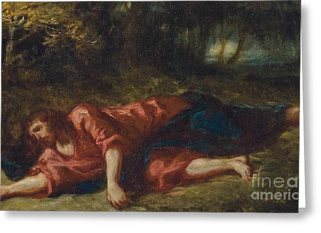 Lord Paintings Greeting Cards - The Agony in the Garden Greeting Card by Ferdinand Victor Eugene Delacroix