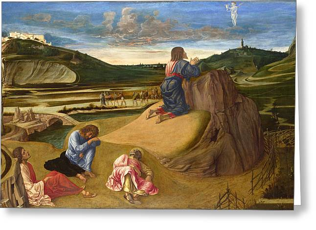 Agony In Garden Greeting Cards - The Agony in the Garden Greeting Card by Giovanni Bellini