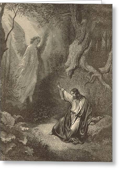 Jesus work Drawings Greeting Cards - The Agony in the Garden Greeting Card by Antique Engravings