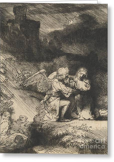 Drypoint Greeting Cards - The Agony in the garden Greeting Card by Rembrandt