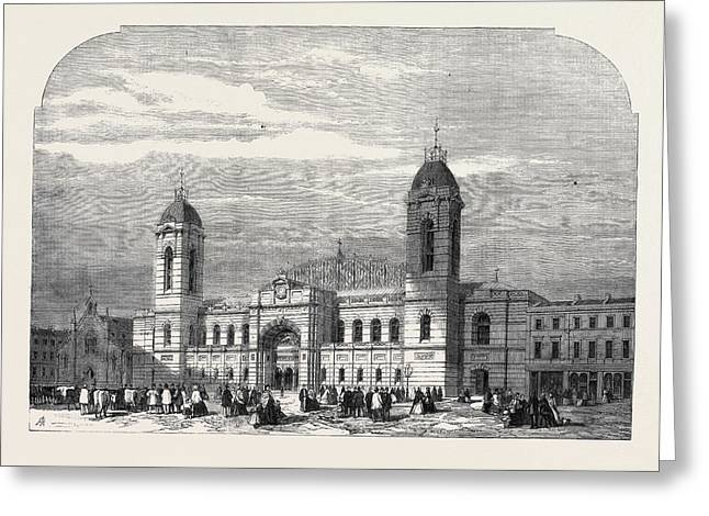 The Agricultural Hall Islington In Process Of Construction Greeting Card by English School