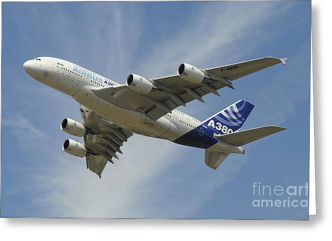 A380 Greeting Cards - The Airbus A380 Prototype In Flight Greeting Card by Riccardo Niccoli