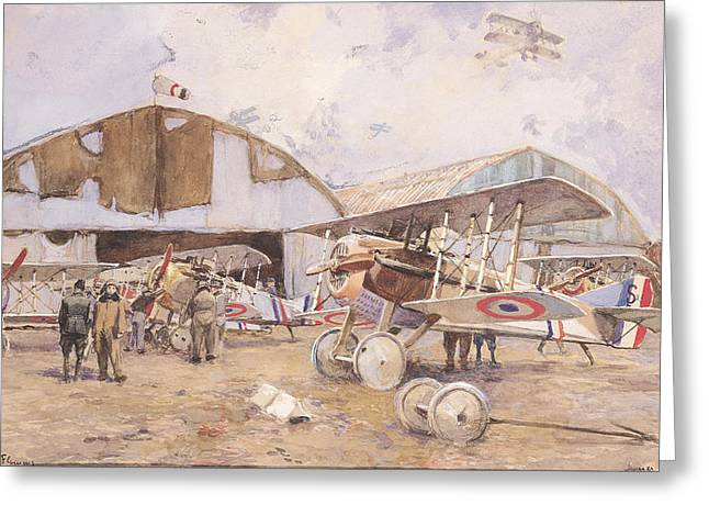 Champs Greeting Cards - The Airfield, 1918 Wc On Paper Greeting Card by Francois Flameng