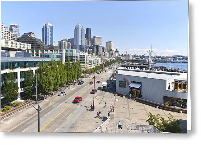 Alaskan Architecture Greeting Cards - The Alaskan Hwy and waterfront businesses Seattle WA. Greeting Card by Gino Rigucci