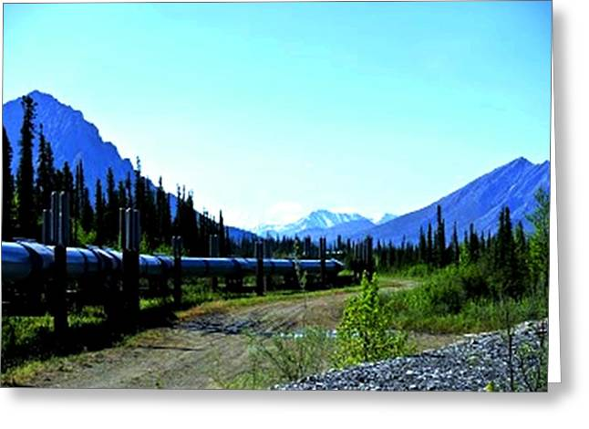 Print On Canvas Greeting Cards - The Alaskan Pipeline Greeting Card by Diane Strain