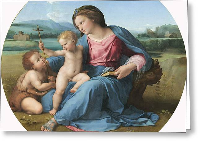 Child Jesus Greeting Cards - The Alba Madonna Greeting Card by Raffaello Sanzio of Urbino