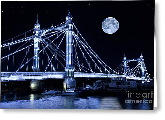 Thames Greeting Cards - The Albert Bridge and The Moon Greeting Card by Simon Kayne