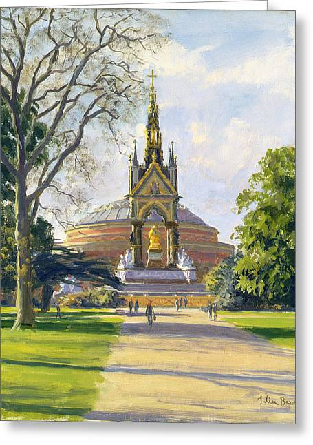Kensington Greeting Cards - The Albert Memorial Oil On Canvas Greeting Card by Julian Barrow