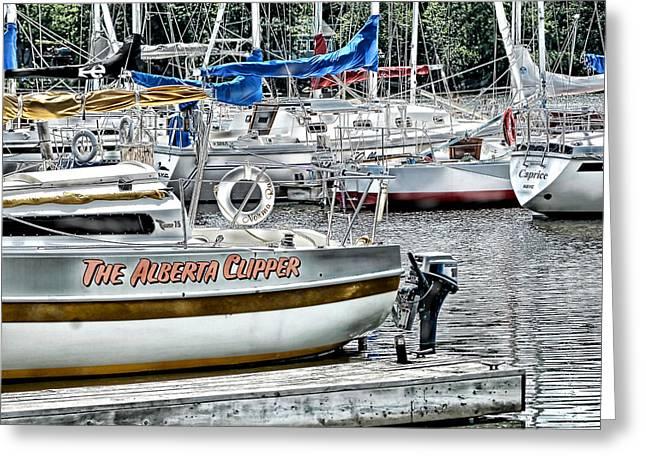 Sailboats Docked Mixed Media Greeting Cards - The Alberta Clipper Greeting Card by Linda Muir
