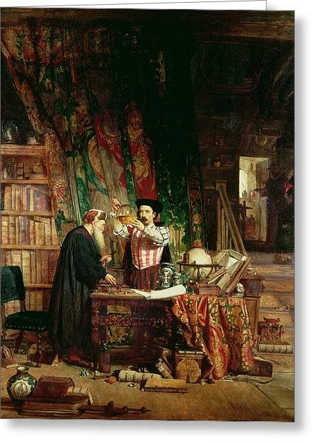 Experiment Greeting Cards - The Alchemist, 1853 Greeting Card by William Fettes Douglas