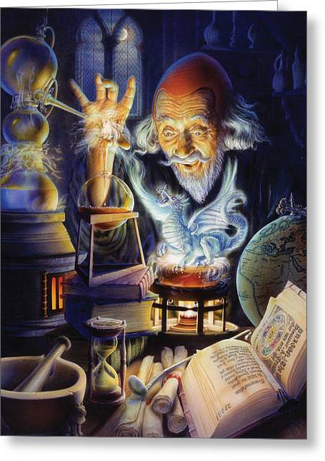 Wizard Greeting Cards - The Alchemist Greeting Card by Andrew Farley