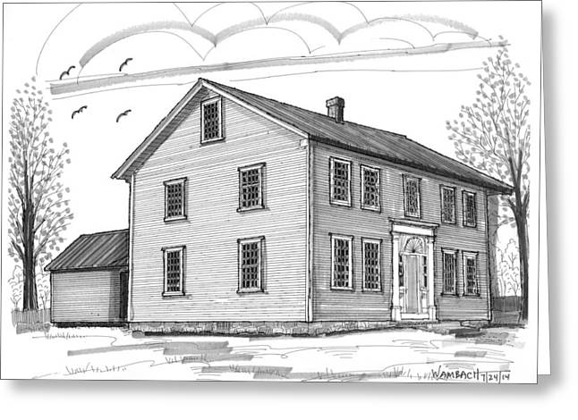 Stone House Drawings Greeting Cards - The Alexander Twilight House Greeting Card by Richard Wambach